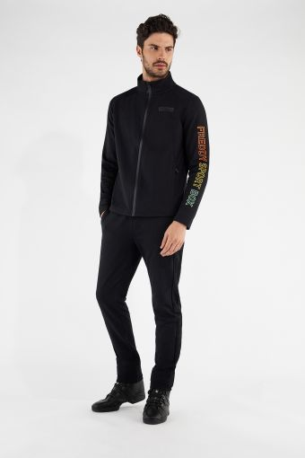 Men's regular-fit track suit with a multicolour print on the arm