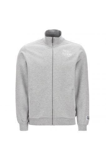 Mélange-Sweatshirt mit Reißverschluss und aufgestickter Aufschrift