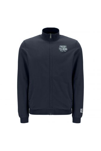 Plain colour sweatshirt with a zip and embroidered lettering