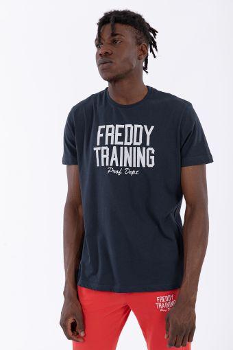 Kurzärmeliges T-Shirt mit Aufnäher und Stickerei als Aufschrift