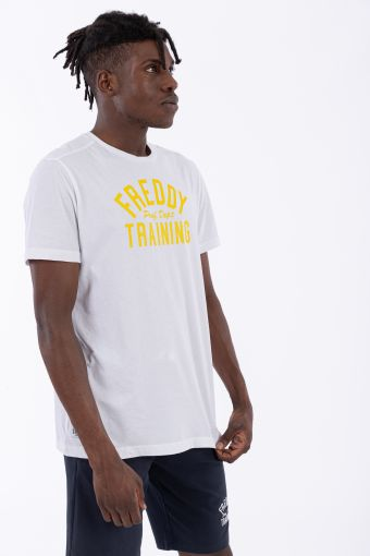 Camiseta de manga corta con estampado de texto en contraste