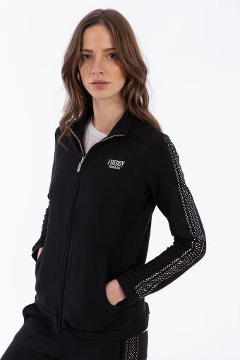Reguläres Sweatshirt mit Mikronieten, Reißverschluss und hohem Kragen