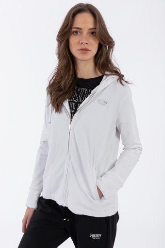 Reguläres Sweatshirt mit Kapuze mit Mikronieten