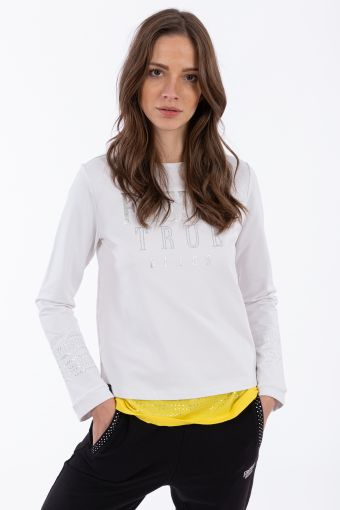 Sweatshirt with micro studs and a silver print