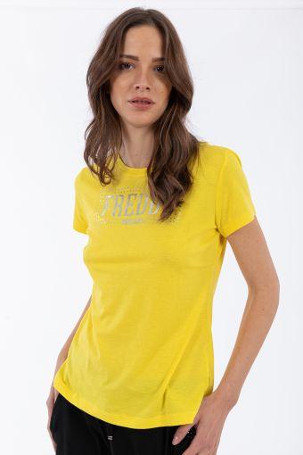 Komfort-T-Shirt aus Lyocell-Jersey mit Aufdruck und Mikronieten