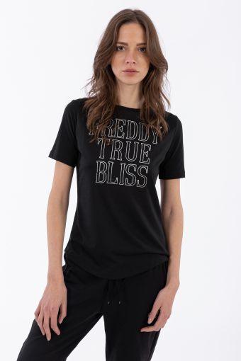 T-shirt classique en jersey, avec imprimé argenté et mini-clous