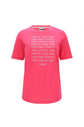 Short-sleeve t-shirt with a glitter slogan on the front
