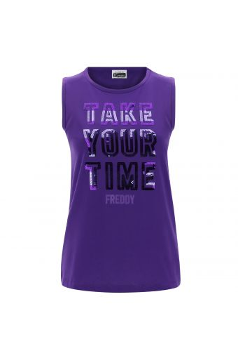 Crew neck tank top with sequin lettering