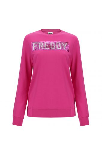 Crew neck French terry sweatshirt with a sequin logo