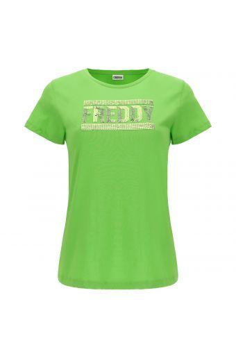 Camiseta de cuello redondo con logotipo de lentejuelas tono sobre tono