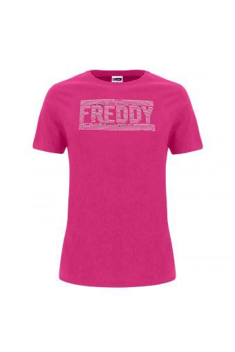 T-Shirt mit rundem Ausschnitt und Logo aus farblich abgestimmten Pailletten