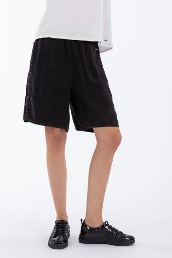 Vegetable silk Bermuda shorts with crystal-studded bands