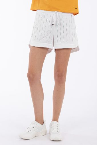 Slightly rounded shorts with crystal stripes