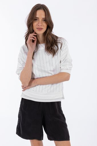 Viscose sweatshirt with three-quarter dolman sleeves and applied crystals