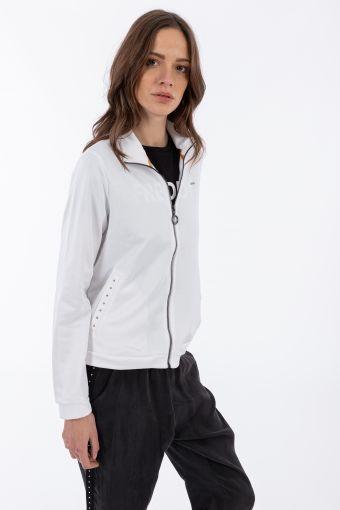 Viskose-Sweatshirt mit hohem Kragen und Taschen mit Kristallrändern