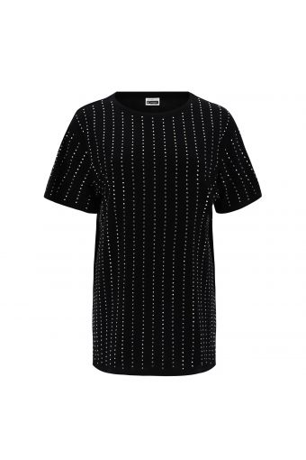 Long, comfort-fit t-shirt with applied crystals