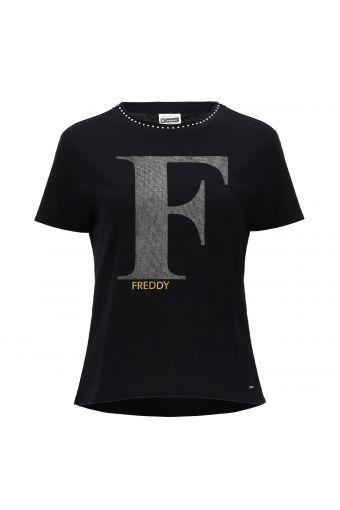 T-Shirt aus Jerseystoff mit rundem Ausschnitt mit Kristallsteinen und Maxi-Aufdruck F