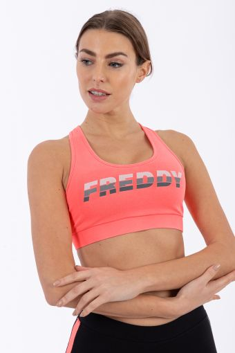 Sports bra with a FREDDY print and crossed straps