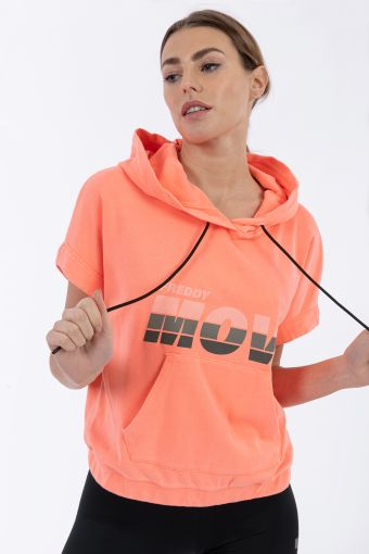 Short-sleeve hoodie with a .MOV print