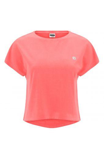 Bauchfreies T-Shirt mit dem Aufdruck MOV. auf der Rückseite