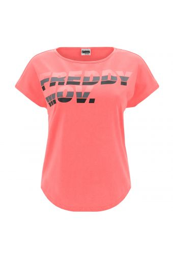 Comfort-fit boat neck t-shirt with a MOV. print