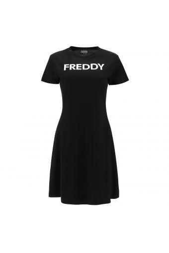 Short-sleeve dress with a contrast FREDDY print