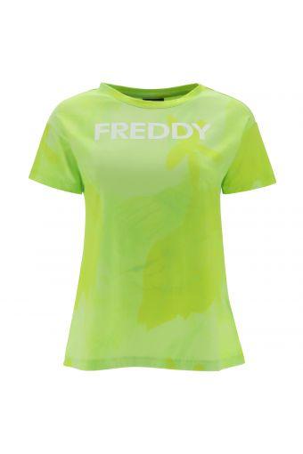 Camiseta fantasía flúor con estampado FREDDY en la parte delantera