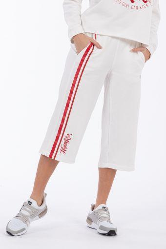 Bauchfreie Hose mit Seitenstreifen im College-Vintage-Stil