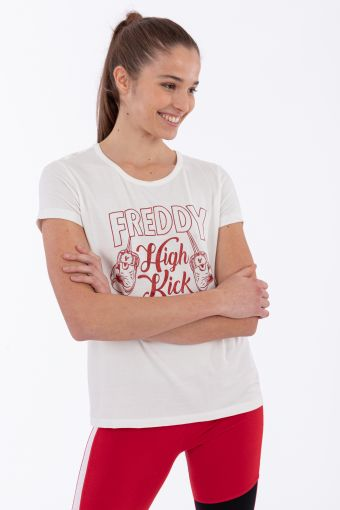 Viscose jersey t-shirt with vintage college lettering