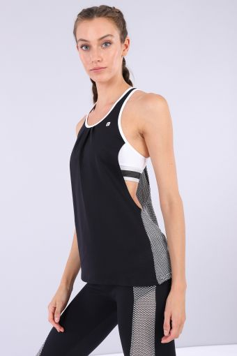 Women's yoga tank top with built-in bra-100% Made in Italy