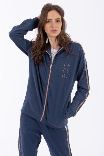 Sweatshirt aus French Terry mit Reißverschluss als Kontrast