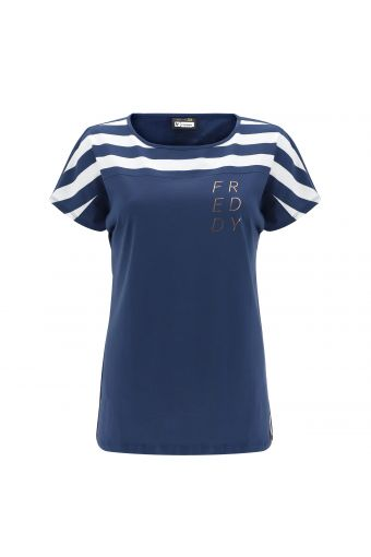 Burnout jersey t-shirt with marinière inserts and a gold print