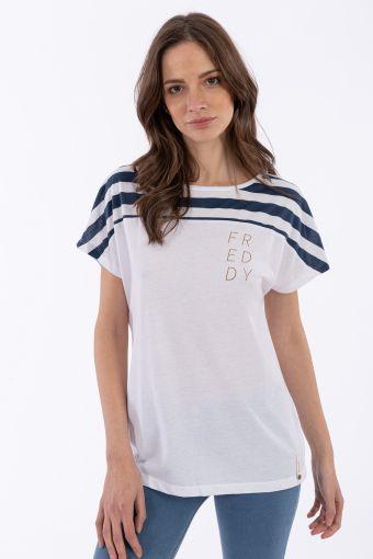 Camiseta en punto devoré con inserciones marineras y estampado oro