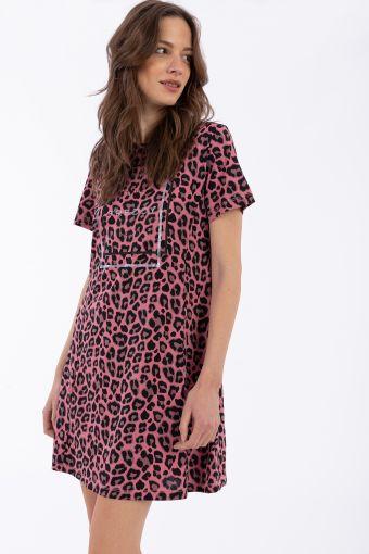 Comfort-fit leopard print skater dress