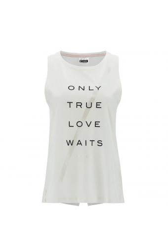 Comfort-fit tank top with a print and rear slit