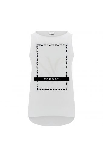 Tank top with a straight neck and front print