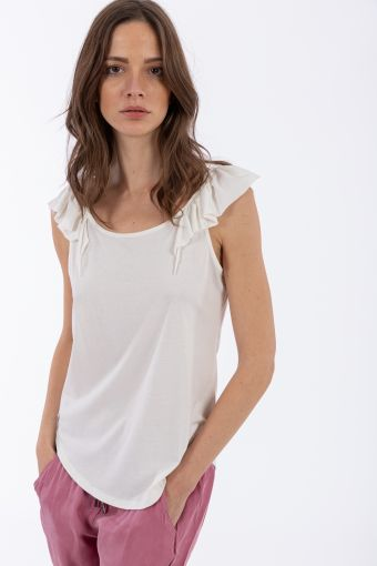 Viscose tank top with flounces on the shoulders