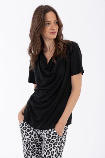 Cowl neck short sleeve t-shirt