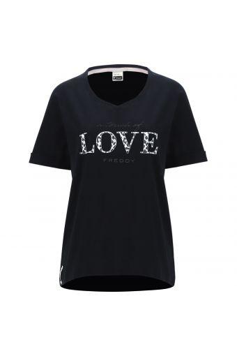 Camiseta de cuello amplio con texto en estampado animal