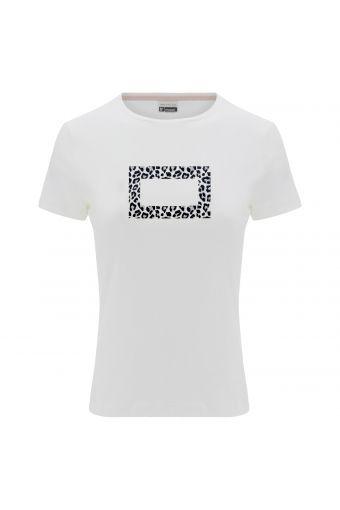 T-Shirt aus Baumwolle mit umrandeter Animalieraufschrift