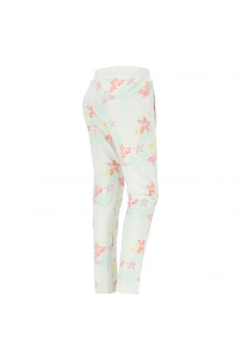 Tropical print trousers with glitter lettering