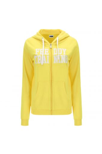 Lightweight zip hoodie with applied lettering