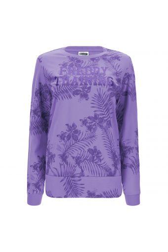 Sweatshirt mit tropischem Muster und Glitzeraufdruck