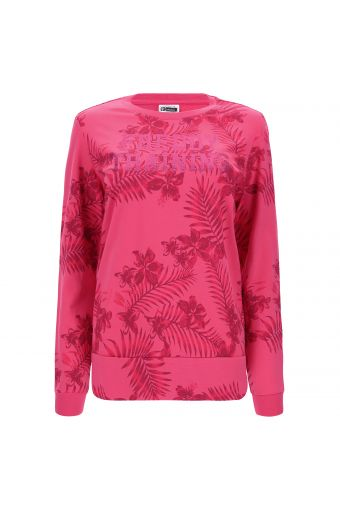 Tropical print sweatshirt with glitter lettering