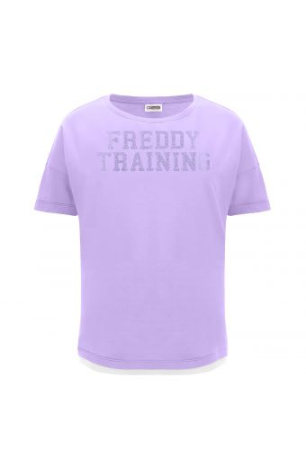 T-Shirt mit Komfort-Passform und farblich abgestimmtem Glitzeraufdruck
