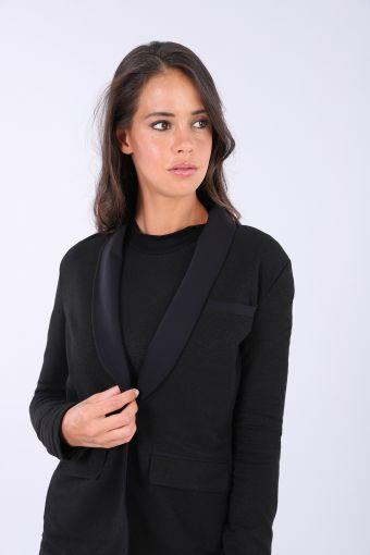 Black Lurex blazer with a single button fastening