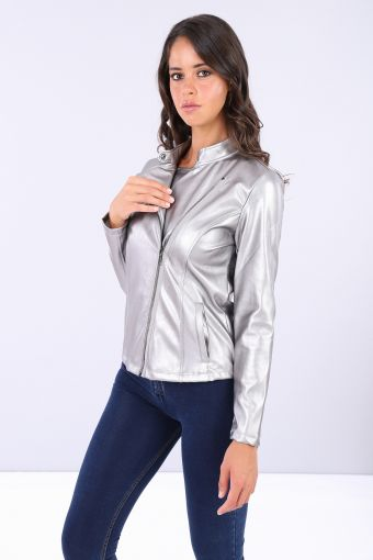 Biker jacket made from metalized faux leather