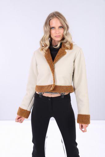 Cropped faux shearling and eco-napa jacket