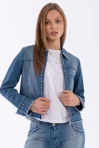 Denim-effect jacket with studs and frayed edges