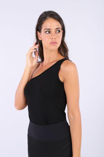 Black slim fit single-shoulder top